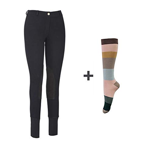 (TuffRider Women Starter Lowrise Pull On Breeches with Free Assorted Striped Socks | Knee Patch | Horse Riding Pants | Equestrian Apparel - Black - 30)