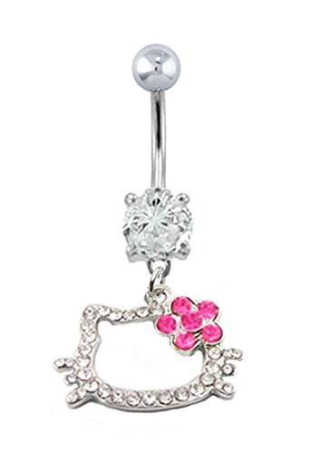 - Clear cz Open Hello Kitty pink flower dangle Belly button navel Ring piercing bar body jewelry 14g