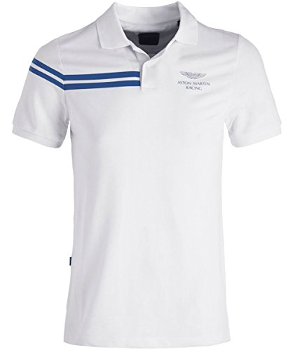 Hackett Men's Reflective Stripe AMR Polo Shirt White M