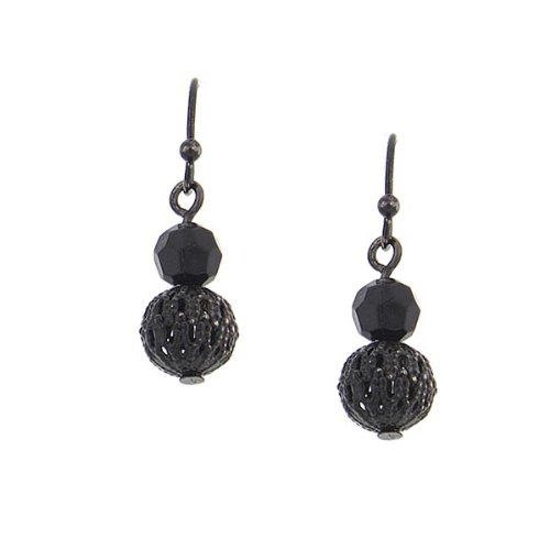 1928 Jewelry Black Ball Dangle Earrings