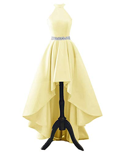 (Chnaguan Womens Halter High Low Satin Prom Evening Dress Cocktail Party Gowns Yellow-2)