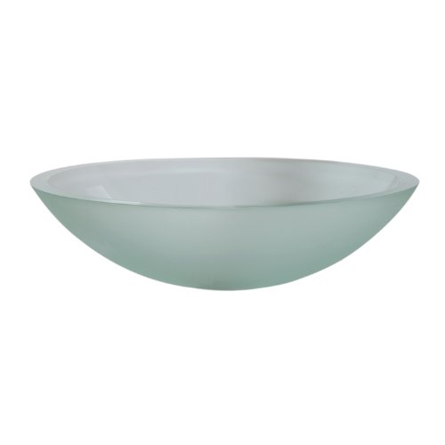Decolav 1129T-FNG Translucence Oval Tempered Glass Vessel Sink, Frosted Natural Glass Decolav Tempered Frosted Glass