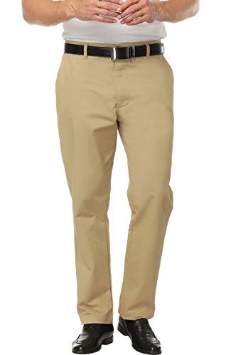 Boisouey Mens Premium No-Iron Expandable-Waist Plain-Front Pant