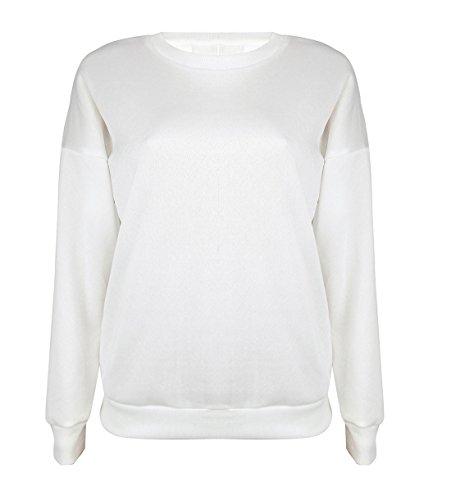 Manches Sweat Longues en Automne Bandage Blanc Casual Rond Top Col Blouse Femme Monika Shirt T Shirt Hauts Pullover qBFwAnnYf