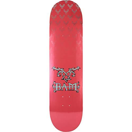 Margera Bam Skateboard Decks (Element Skateboards Bam Margera Heartagram Bam Pink/Silver Skateboard Deck - 8.2