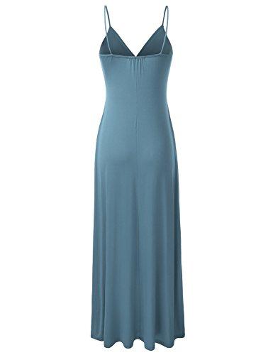 darkdenim Tank Womens Maxi Neck Sleeveless DRESSIS Dress Awdmd0223 Ruched V wvpOWB1q