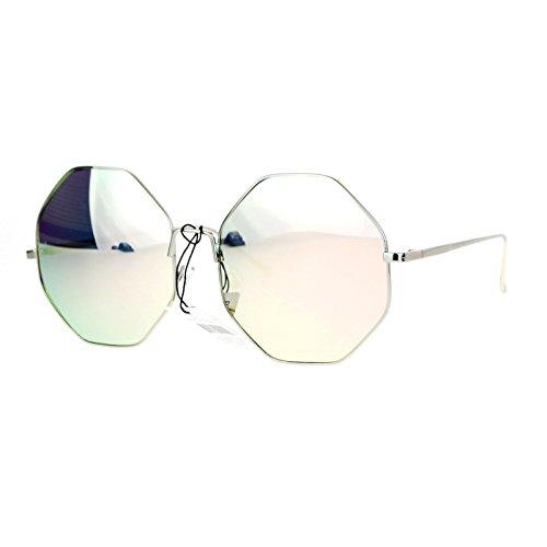 Womens Octagon Shape Sunglasses Metal Frame Silver, Pink Mirror Lens - Octagon Sunglasses