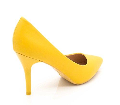 Shoes et pour Cérémonie Femme uni Talon Jaune et la Fashion Haut Couleur 9cm Mode Chic à Escarpin Femme Escarpin Talon Chaussures Escarpin Mariage Très Fin OqPO6d