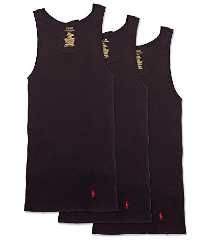 (Polo Ralph Lauren Classic Fit Cotton Tanks 3-Pack, S, Black )