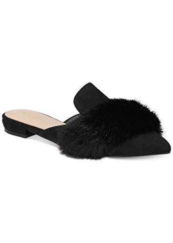 ALDO dorriety-98 Women Black Fur & Suede Flats Slip-ONS Shoes Size 5 m