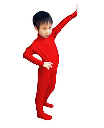 WOLF UNITARD Kids Lycra Spandex Bodysuit Dancewear Small Red