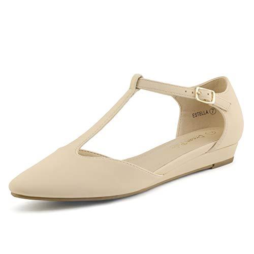 (DREAM PAIRS Women's Nude Nubuck Low Wedge Ballet Flats Shoes Size 9.5 M US Estella)