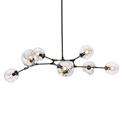 LUOLAX Modern Pendant Light Glass Chandelier with 6 Lights Fixture Hanging Flush Mount