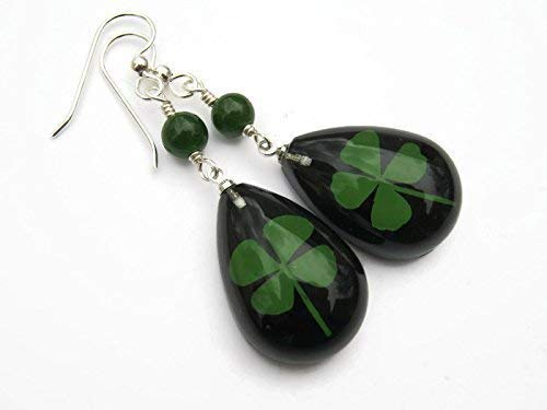 48e2686c58be5 Amazon.com: Four Leaf Clover Earrings, Sterling Silver, REAL Pressed ...