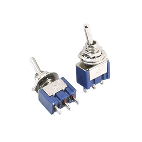 (Aexit ON-OFF-ON SPDT Control electrical Self-Locking Rocker Type Mini Toggle Switch AC 250V 2A Blue 2pcs)