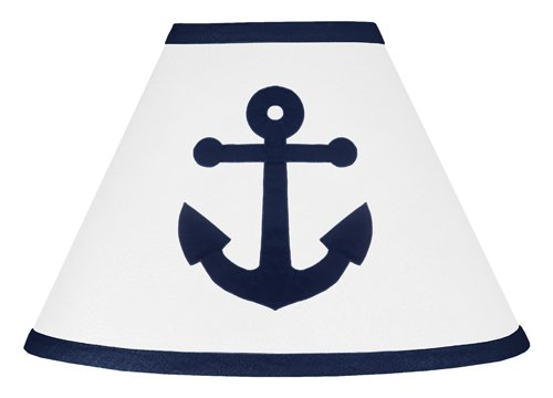 (Sweet Jojo Designs Anchors Away Nautical Navy Blue and White Baby and Childrens Lamp)