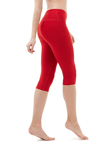 Tesla TM-FYP21-RED_Small Yoga 17″ Capri Mid-Waist Pants w Hidden Pocket FYP21
