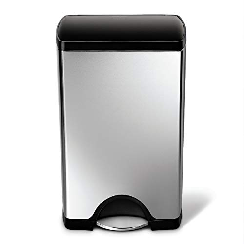 simplehuman Rectangular Step Trash Can, Brushed Stainless Steel, 38 -