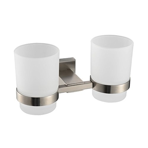 KES A2451-2 Bathroom Lavatory Double Glass Tumbler with Holder Wall Mount, Brushed Stainless Steel (Wall Mounted Metal Cup Holder)