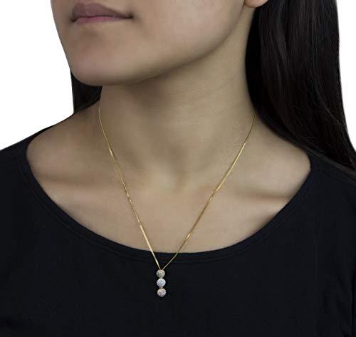 14 karat tri color trilogy circle necklace paved with 0.30 carats of diamonds -