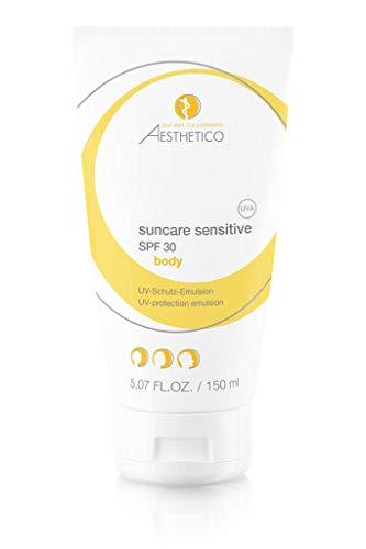 AESTHETICO suncare sensitive SPF 30 (150 ml) - Leichte Sonnenschutzemulsion für Gesicht und Körper, emulgator- und nanopartikelfrei, hoher UV-Schutz