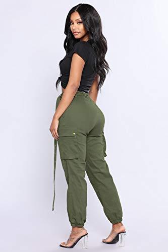 Cómodo Cargo De Alta Trousers Cintura Casual Pantalon Workout Casuales Mujer Deporte Vintage Armygreen Tiempo Libre Pantalones Elegantes Unicolor Deportivas Fitness Mujeres Bolsillos Con Moda 56wxn