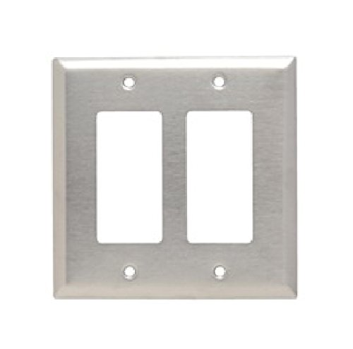 Pass & Seymour SSJ262 Smooth Metal Wall Plate, Junior-Jumbo 2gang Decorator, 302/304 Stainless (Junior Wall Plate)