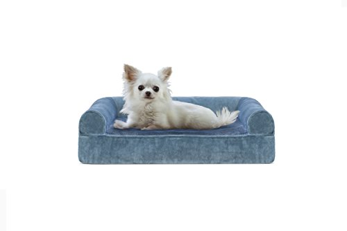 Furhaven Pet Dog Bed | Cooling Gel Memory Foam Orthopedic Faux Fur & Velvet Sofa-Style Couch Pet Bed for Dogs & Cats, Harbor Blue, Small For Sale