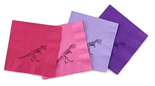 Stesha Party Pink Dinosaur Birthday Party 24 Count 3-Ply Paper Beverage Napkins