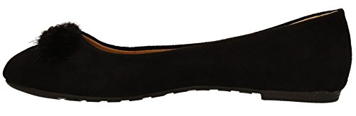 Black on Shoes Shoes Pom Ball Fur Rita Suede Pumps Ballet Womens Black Pom Slip Flat Ladies SWANKYSWANS qzxnv6xw