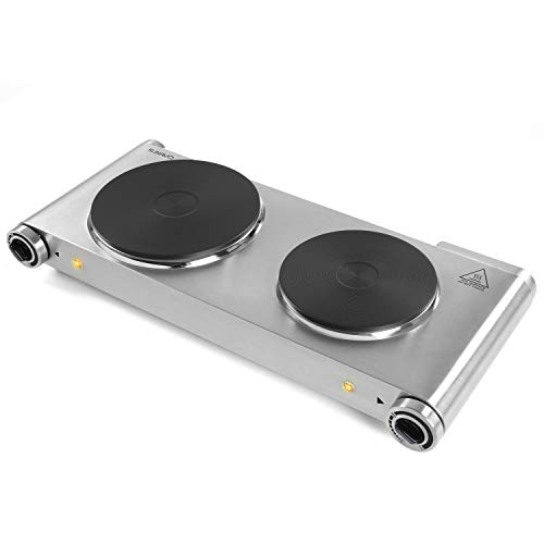 Hot Plate Double Burner for Cooking Electric 1800W, SUNAVO Portable Countertop Burners Cooktop Hotplate hob Burner Variable Temperature Controllers, Stainless Steel Silver