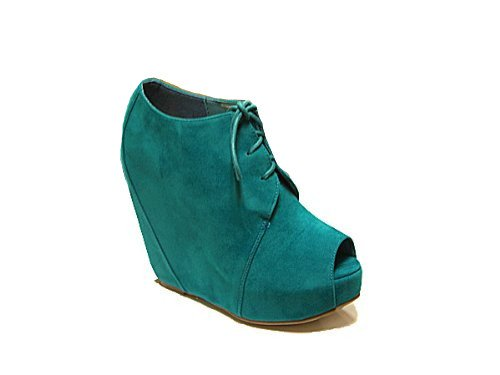 Lace-up Peep Toe Faux Suede Sleehak Platform Groenblauw