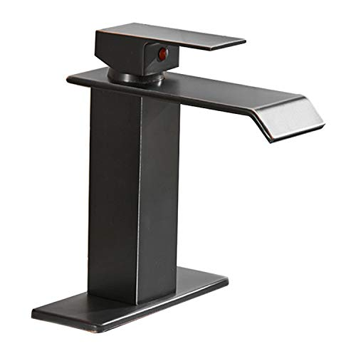 BWE Waterfall Spout Single Handle One Hole Bathroom Sink Faucet Oil Rubbed Bronze Deck Mount Lavatory