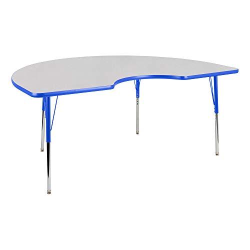 - Kidney Adjustable Height School Classroom Activity Table - Gray Nebula Top/Blue Edge