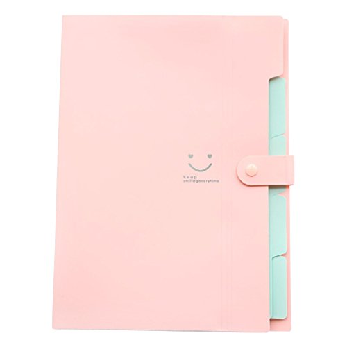 File Folder - Skydue Letter A4 Paper Expanding File Folder Pockets Accordion Document Organizer (Pink)