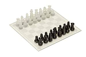 "8.5"" Glass Chess Set with Frosted White & Gloss Black Chessmen"