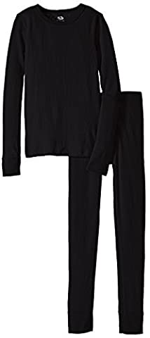Fruit of the Loom Boys Waffle Thermal Underwear Top and Bottom Set Black Soot S (6)