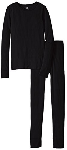 Fruit of the Loom Boys Waffle Thermal Underwear Top and Bottom Set Black Soot L (10-12)