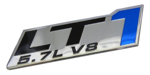 (ERPART LT1 5.7L V8 Blue Engine Emblem Badge Highly Polished Aluminum Chrome Silver Compatible with Chevy Corvette C4 Buick Camaro Pontiac Trans AM Caprice SS Impala Cadillac Pontiac Firebird Z28)