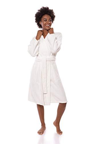 Texere Women's Knee Length Terry Robe (Megève, Natural White, 2X/3X) Plush Robe