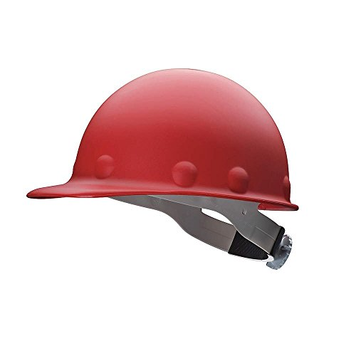 Fibre-Metal Roughneck Red Fiberglass Cap Style Hard Hat - 8-Point Suspension - Swing Strap Adjustment - Reversible Suspension, Strip-Proof - P2ASW15A000 [PRICE is per EACH]