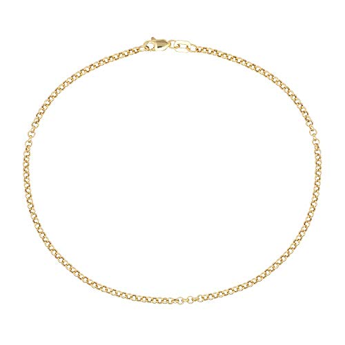 (Pori Jewelers 10K Gold 2mm Rolo Link Chain Anklet for Women - 10