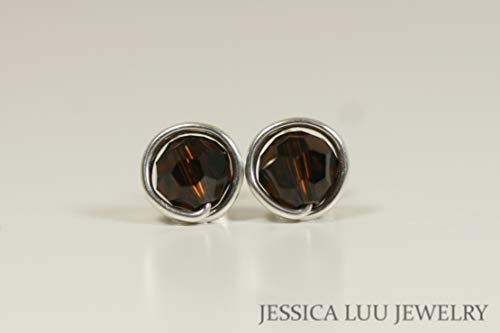 Sterling Silver Dark Brown Stud Earrings with Mocca Swarovski Crystals Wire Wrapped Yellow or Rose Gold -