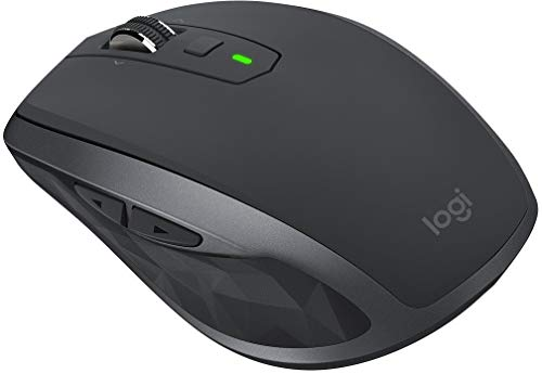 Logitech MX Anywhere 2S Wireless Mouse – Use on Any Surface, Hyper-Fast Scrolling, Rechargeable, Control up to 3 Apple Mac and Windows Computers and Laptops (Bluetooth or USB), Graphite