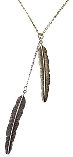 Bohemia 2 Feather Pendant Necklace Mid-length Mixed Metal - Ladies Western Accessories