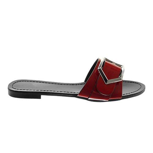 Blockabsatz 1 Rot Metallisch On Angkorly Slip 5 cm Schleife Schuhe Patent Sandalen Mule Damen pv6wzZ