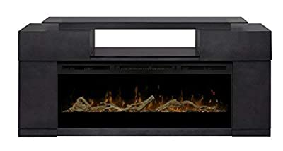 DIMPLEX Electric Fireplace, TV Stand, Media Console, Space Heater and Entertainment Center with Glass Ember Bed Set in Silver Charcoal Finish - Concord #GDS50G5-1243SC