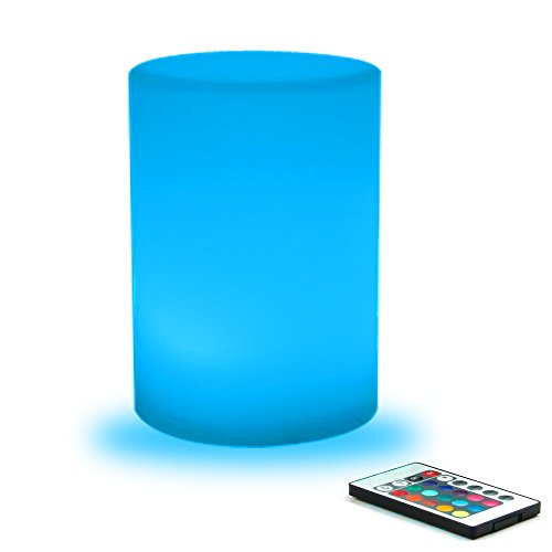 Multi Color Finish Table Lamps (Mr.Go 8.7-inch Multicolor LED Light Column With Remote Control Table Mood Lamp Kids Night Lights 16 RGB Colors 4 Modes, Rechargeable & AC Adapter Powered, 100% Waterproof Safe Indoor/Outdoor)