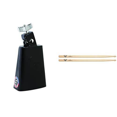 LP Black Beauty Cowbell LP204AN with Vater 5B Wood Tip Hickory Drum Sticks, Pair by Latin Percussion