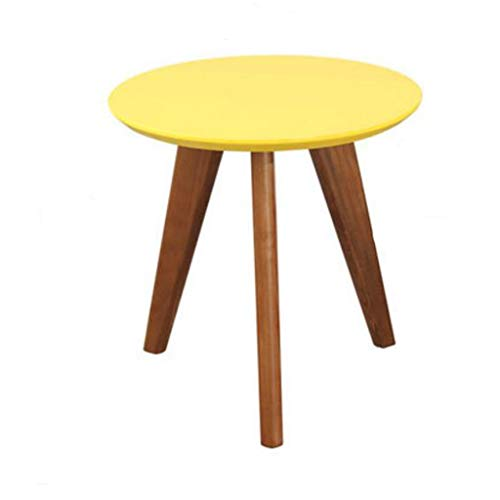 - L-Life End Tables Side Table Round Solid Wood Coffee Table End Table Office, Living Room Bedroom Sofa Side Table (Color : Yellow, Size : 50.5CM)